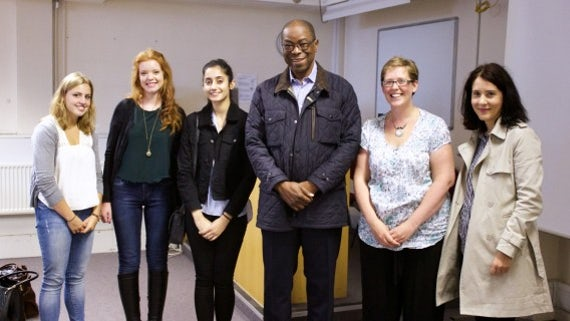 Luis Bernardo Honwana with staff and students from the School of Modern Languages