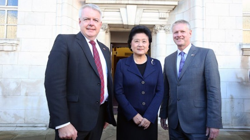 First Minister of Wales, Carwyn Jones, Vice Premier of the People's Republic of China, Liu Yandong and Cardiff University Vice-Chancellor, Colin Riordan.
