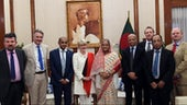 Cardiff University researcher Stuart Goddard (third from right) pictured with the Prime Minister of Bangladesh, Sheikh Hasina (fifth from right) along with members of the collaborative research project.
