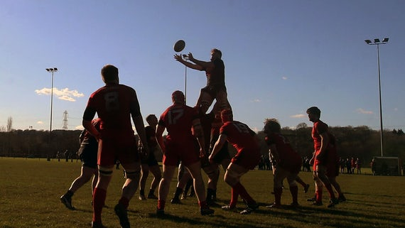 Cardiff students rugby team in a line out