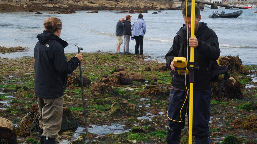 Sampling on St Mary's, Isles of Scilly.