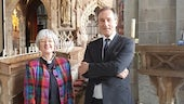 Professor Norman Doe with the Dean of St David's Cathedral, The Very Rev'd Dr Sarah Rowland Jones.