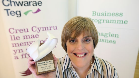 Dr Kelly Berube with her Womenspire Award