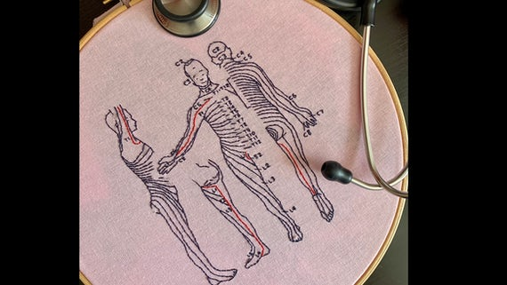 Maya Lodhia - embroidery dermatome map done during pandemic