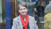 Professor Laura McAllister outside café