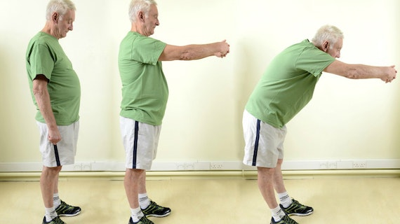 Montage of three images of elderly man exercising