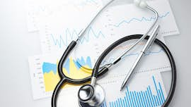 Medical results and stethoscope