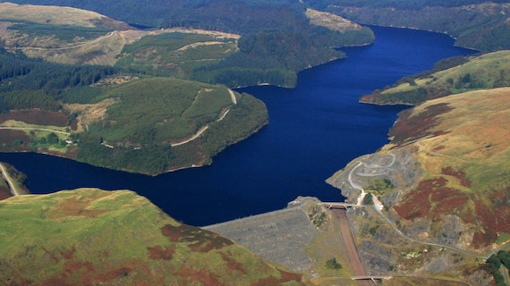 Aerial view of Llyn Brianne reservior