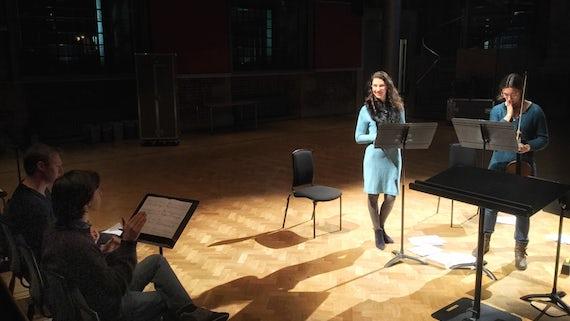 Dr Pedro Faria Gomes, Ziazan Horrocks-Hopayian and Anna Bastow rehearse Evening at LSO St Luke's
