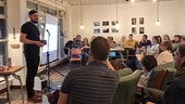 photo of Dr Mathew Hoskins speaking at Pint of Science