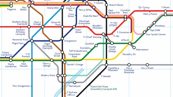Going Underground Dylan Foster Evans Puts Welshlanguage Cardiff - Welsh language map