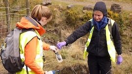Second year students analysing water samples in the Corrwg Valley.