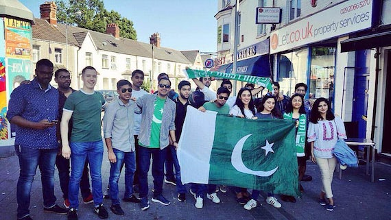 Students from the Pakistan Society celebrating in Cardiff