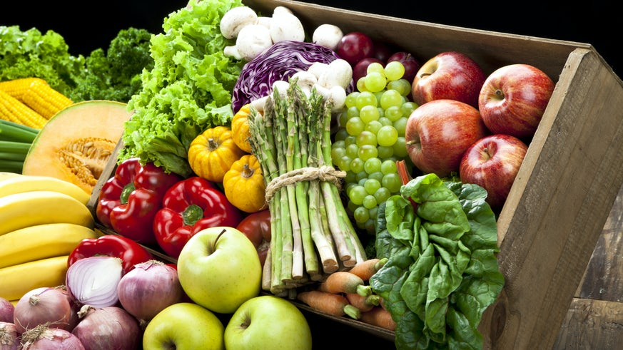 Brightly coloured variety of fruits and vegetables