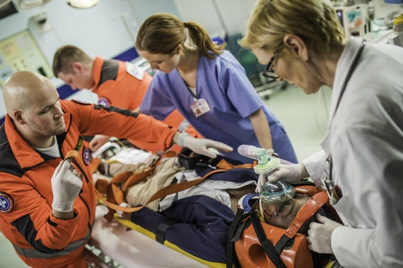 Parademics, doctor and nurse in A&E