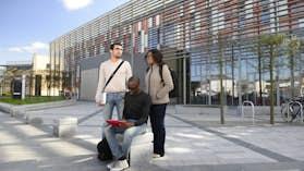Postgraduate students outside Haydn Ellis building