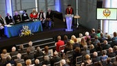 A picture of a speech given by Professor Jeremy Hall, at the inauguration of  Professor Heather Stevens CBE