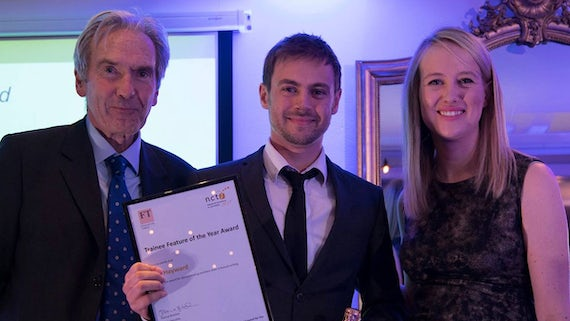 News journalist Will Hayward posing with his NCTJ excellence award