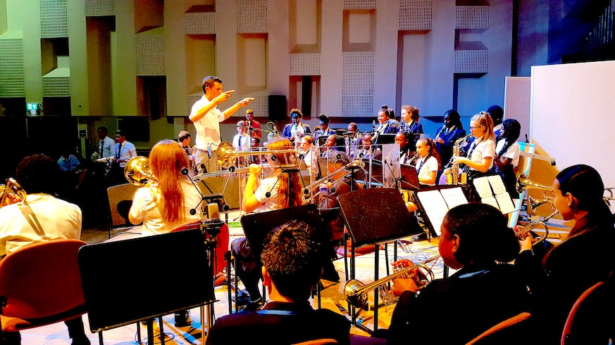 Students from Goresbrook School performing at Cardiff University School of Music