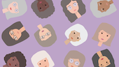 Graphic of elderly women