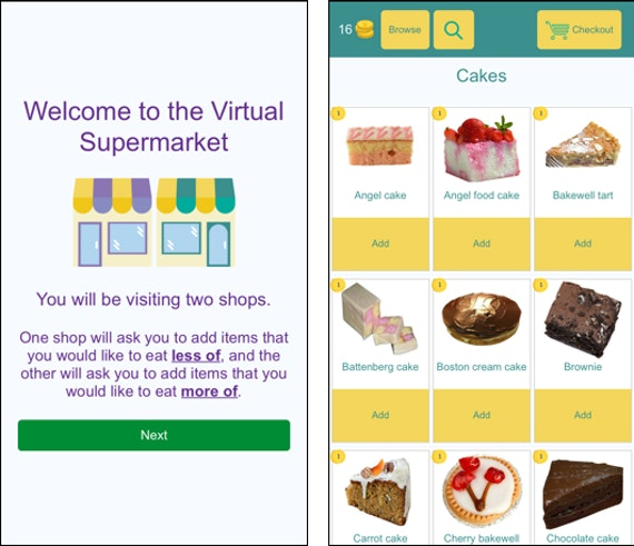 App screenshot of the virtual supermarket