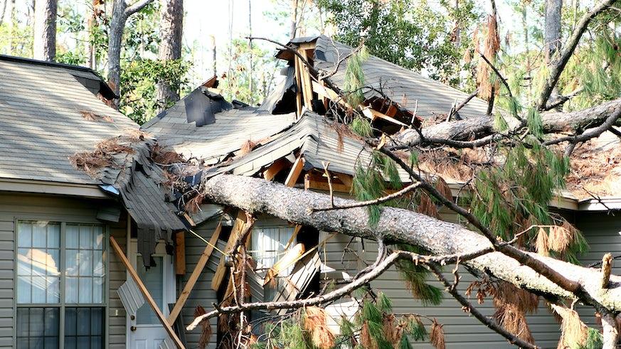 Hurricane damaged house