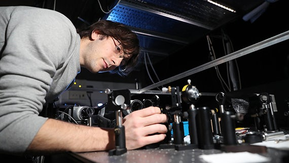 Physics student in laser lab