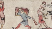 possible training practices for young squires from marginal illustration from Oxford Bodleian Library manuscript 264