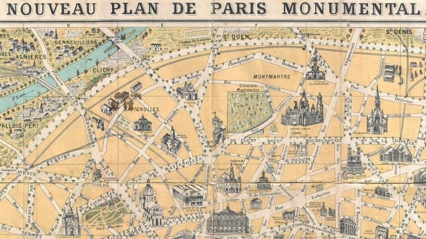 Illustrated map of Paris monuments