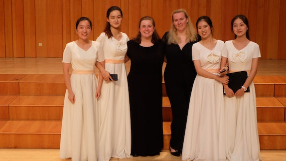 Cardiff University Chamber Choir students with students from the Art College of Xiamen University