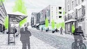 A grey illustration of Swansea town centre.