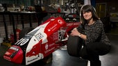 Karen Holford and formula one car