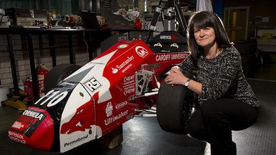 Karen Holford and formula one car
