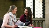 Postgraduate students discussing study options