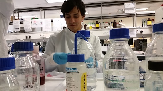 PhD student Bruno Bastos in the main lab