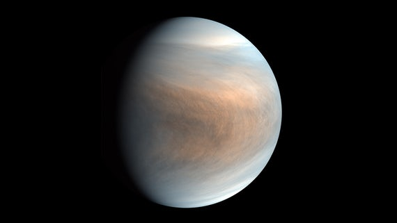 Synthesized false colour image of Venus, using 283-nm and 365-nm band images taken by the Venus Ultraviolet Imager (UVI)