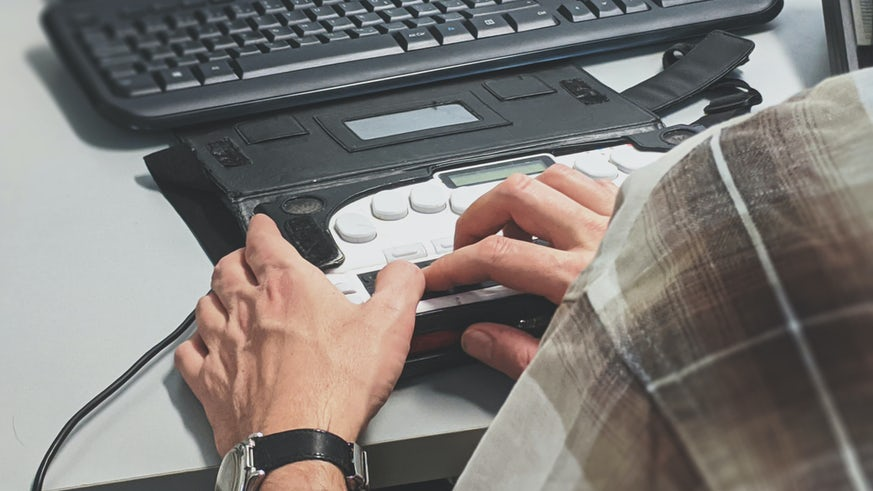Person using accessible keyboard control
