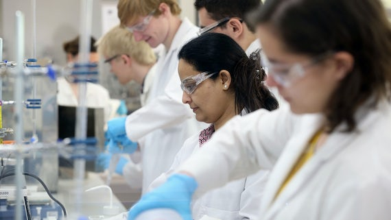 students in catalysis lab