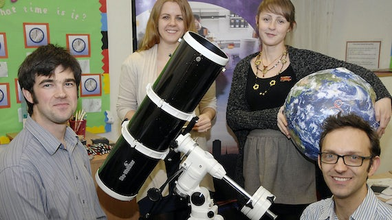 From left to right: Dr Chris North, Prof Haley Gomez, Sarah Roberts and Dr Edward Gomez, part of the public engagement team at the School of Physics and Astronomy.