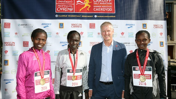 VC with top three marathon runners