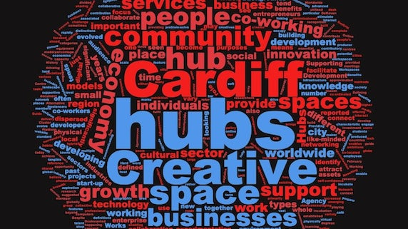 Word cloud for Cardiff creative hubs