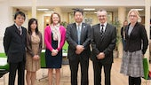 Mr Shinichi Iida, Minister for Public Diplomacy and Media (centre) visits the School of Modern Languages