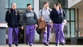 Healthcare students walking in a group