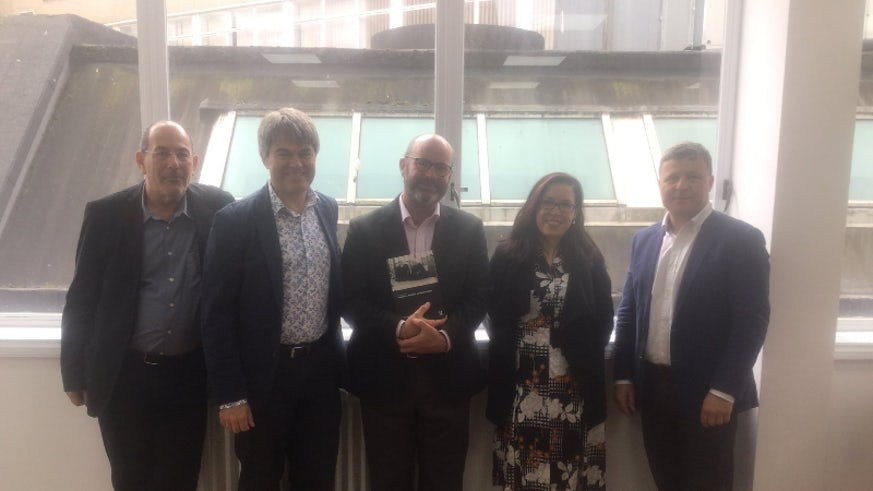 Professor John Harrington (pictured centre) with Professor Martin Kayman, Professor Gary Watt, Professor Marie-Andrée Jacob and Professor Jiri Priban.