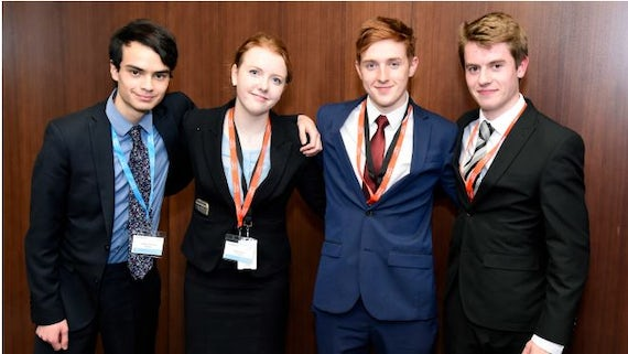 India Moore (second from left), winner of this year's Times Law Student Advocacy Competition pictured with her fellow finalists.