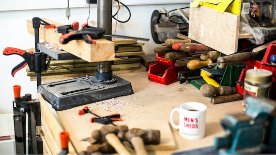 Woodworking tools on a workbench
