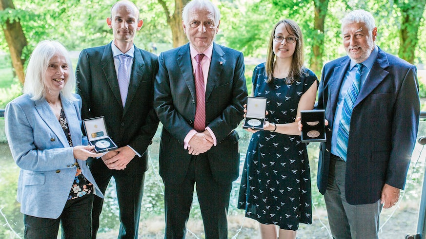 Staff pictured at the Learned Society of Wales awards