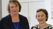 Professor Heather Stevens, founding trustee of The Waterloo Foundation and Professor Amanda Kirby, University of South Wales