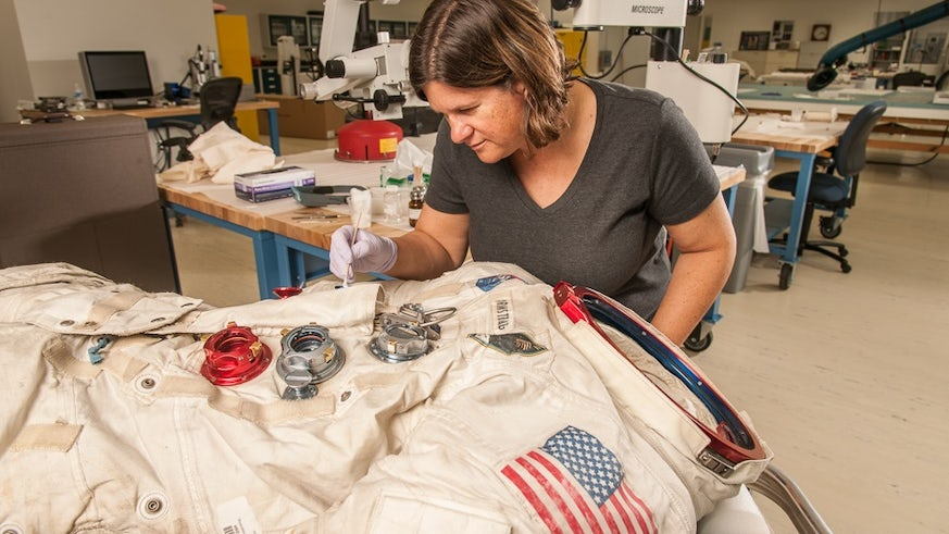 Neil Armstrong space suit being refurbished by Lisa Young