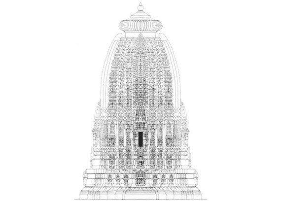 An archtectural drawing of the Temple of Ashapuri, India.